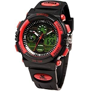 Time100 Multifunction LCD Dual Display Red Bezel Analog-Digital Watches#W40002G.04A