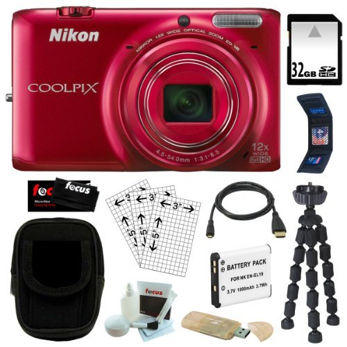 Nikon COOLPIX S6500 16MP Wi-Fi Digital Camera with 12x Optical Zoom and Built in GPS in Red + 32GB SDHC + Replacement EN-EL19 Battery + Micro HDMI Cable + USB Card Reader + Camera Case + Spider Tripod + Memory Wallet + Accessory Kit
