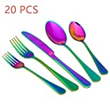 20-Piece Stainless Steel Flatware Set,Tableware Set,Dinnerware Set Service for 4, Include Knife/Fork/Spoon/Teaspoon/Fruit fork (Rainbow Multicolor)