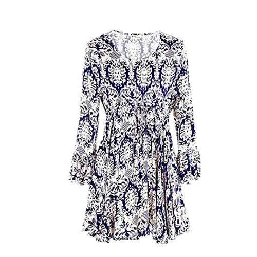 Aokdis Women Floral Flower Print Chiffon Round Neck Dress Blouse T-Shirt Tops (L, Blue)