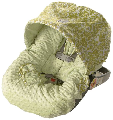 Itzy Ritzy Infant Car Seat Cover and Peek-A-Boo Pod Infant Carrier Pod Bundle, Avocado Damask - 1