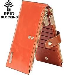 Borgasets RFID Blocking Women\'s Genuine Leather Zipper Wallet Card Case Purse Orange