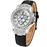 MILER Silver Bling Crystal Lady Girl Style Black Leather Quartz Wrist Watch Gift