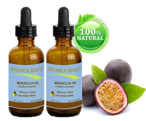 Maracuja Oil. 100% Pure / Natural. Cold Pressed / Undiluted. For Face, Hair And Body. 0.5 Fl. Oz -15 Ml . (Pack-2) By Botanical Beauty