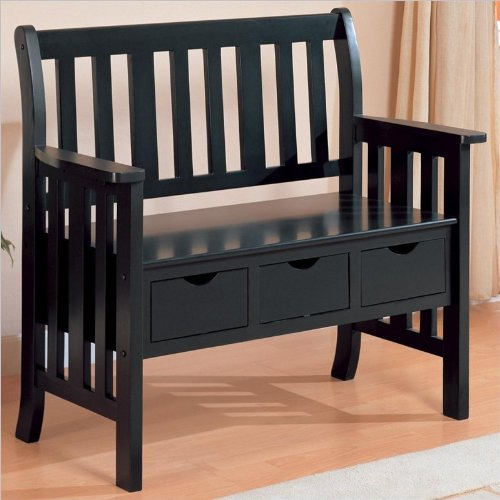 Coaster Cottage Style Wooden Chair Bench with Storage Drawer, Black