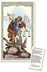 Catholic Patron Saint St Michael Laminated Religious Christian Prayer Holy Card