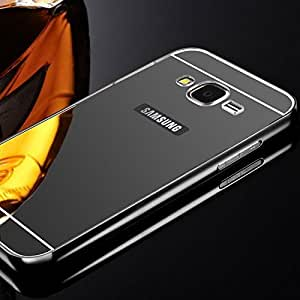 Ultimate Collection's Samsung Galaxy J2 Luxury Metal Bumper + Acrylic Mirror Back Cover Case for Samsung Galaxy J2 (Black) 2016