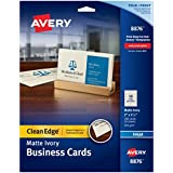 Avery Two-Side Printable Clean Edge Business Cards for Inkjet Printers, Matte, Ivory, Pack of 200 (08876)