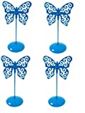 Set of 4 Cyan Metal Butterfly Votive Candle Holder