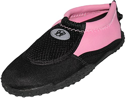 Women's Ankle High Water Shoes Aqua Socks Snorkeling, Pool Beach, Yoga, Dance and Exercise with Drawstring Closure (8, Black/Pink)
