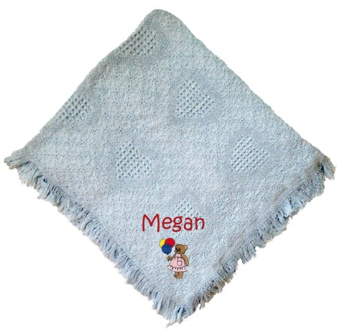 Girl Bear Blue 100% Cotton Custom Embroidered Personalized Baby Blanket Green Thread front-967235