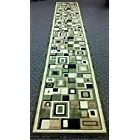 Modern Long Rug Runner 32 In. X 15 Ft. 10 In. Green Design 125