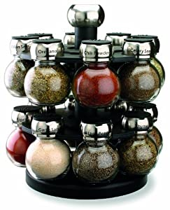 Olde Thompson 16-Jar Labeled Orbit Spice Rack Jars & Rack