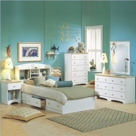Cheap South Shore Newbury Kids White Twin Wood Captain's Bed 4 Piece Bedroom Set (3263080-4PKG)