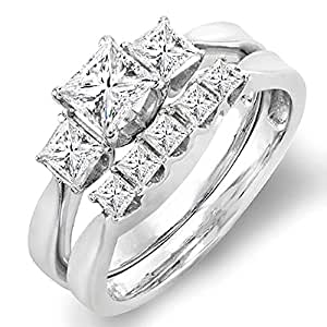 1.25 Carat (ctw) 14k White Gold Princess Diamond Ladies 3 Stone Bridal Engagement Ring Set 1 1/4 CT (Size 5)