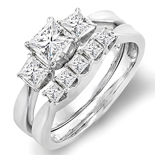 Cheapest 1.25 Carat (ctw) 14k White Gold Princess Diamond Ladies 3 Stone Bridal Engagement Ring Set 1 1/4 CT (Size 7)