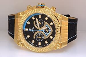 Aqua Master Yellow Gold Mens Diamond Watch Blue Accent Dial