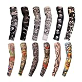 12PCS Tattoo Sleeves -Arm Tattoos Sleeve For Men Women -Fake Temporary Kids Hand Cover - Tatoo Arms Sun UV Cool Protection - Unisex Stretchable Cosplay Accessories - Running, Cycling, Color Randomly (Color: a)