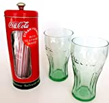 Coco-Cola Straw Holder Retro Coke Classic Dispenser With Two Large Drinking Glasses Gift Set