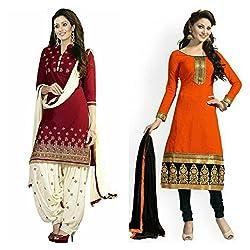 Sky Global Women's Printed Unstitched Regular Wear Salwar Suit Dress Material (Combo pack of 2)(SKY_501_Red)(SKY_503_Orange)