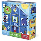 "Crocodile Creek Little Architect Boy Builder Jumbo Block Mix And Match Stacking Set, 3.5"" Toy"