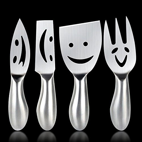 Cheese Knife Yummy Sam Happy Faces Flatware Set Dinnerware Cheese sets Cheese Fork Cheese Knife Stainless Steel Cheese Shovel, Cheese