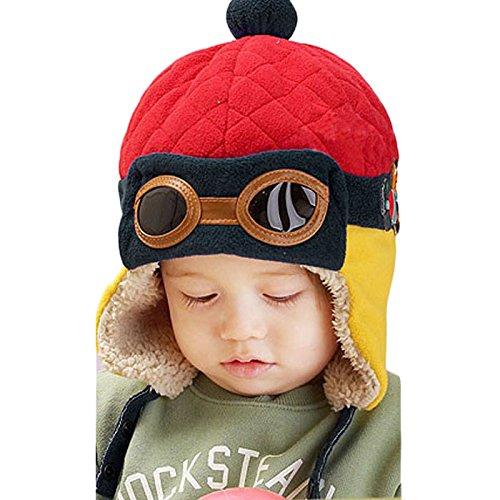 Feng New Jungen Winter Warm Cap Hat Mütze Pilot Aviator Crochet Mützen mit Ohrenklappen, Textil, rot, about 50cm