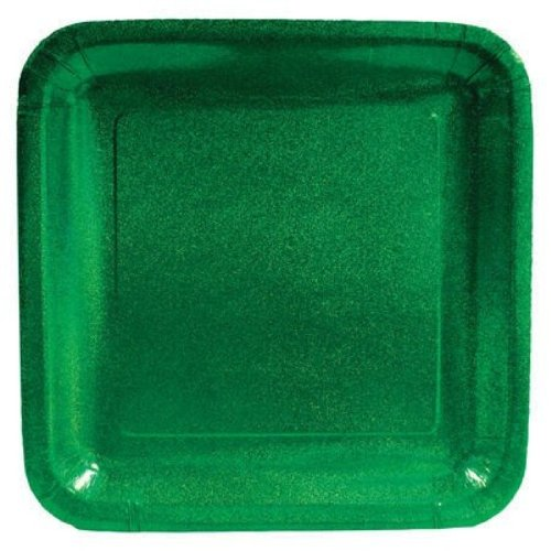 "Creative Converting Glitz Green 10"" Square Prismatic Banquet Plates, 8 Count"
