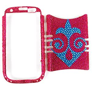 Cell Armor I747-RSNAP-FD254 Rocker Series Snap-On Case for Samsung Galaxy S3 - Retail Packaging - Full Diamond Crystal Blue Face on Red