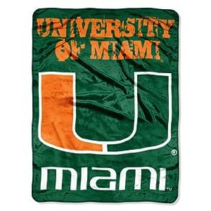 Buy NCAA Miami Hurricanes 46-Inch-by-60-Inch Micro-Raschel Blanket, Grunge Design by Northwest