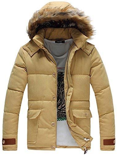 Fiream Herren Winter Solide Baumwolle Große Größen Abnehmbarer Deckel Warm Mit Kapuze Daunenjacken(Gelb,EUR L)