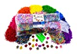 Ultimate Refill Loom Band Kit with 10,000 Rainbow Colored Bands, 1000 S-clips, 10 Loom Hooks, 50 Loom Charms. Includes Looming Made Easy Guide for Tips and Rubber Band Bracelet Patterns Ideas!