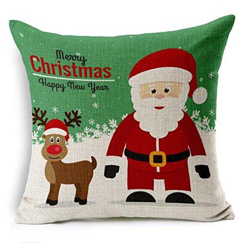 Dececos Merry Christmas Decorative Cotton Linen Blend Throw Pillow Cover Square Pillow Case ...