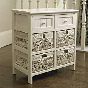 melody maison meuble de rangement 4 paniers en osier 2 tiroirs blanc cuisine maison. Black Bedroom Furniture Sets. Home Design Ideas
