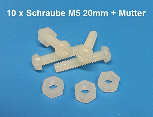 10 x Cross-head Screw and Nut Nylon M5 20mms natural