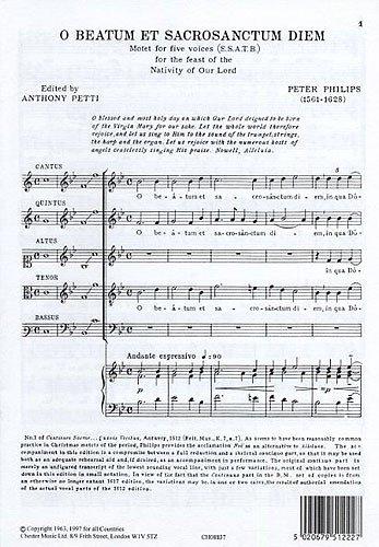 Peter Philips: O Beatum Et Sacrosanctum Diem. For Coro SATB