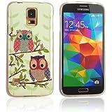 tinxi® Süß Design Schutzhülle für Samsung Galaxy S5 Hülle TPU Silikon Rückschale Schutz Hülle Silicon Case zwei Eulen auf dem Ast Owl Uhu Kauz Muster