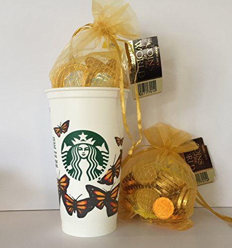 Starbucks Collectable Butterfly Plastic To Go Grande Cup w/ Lid ( discontinued ) And Trader Joe's Chocolate Coins of The World Holiday Christmas Hanukkah (2) with Mesh Gift Bags Bundle (3 Items)