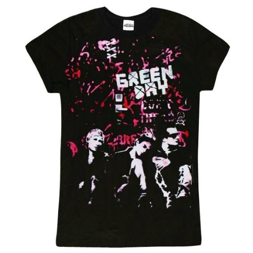 Green Day Graffiti Wall Womens / Juniors Black Lightweight T-shirt (Small)