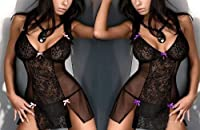 Women Black Babydoll Sleepwear Sexy Lingerie Lace Dress Underwear with G-String by Generic