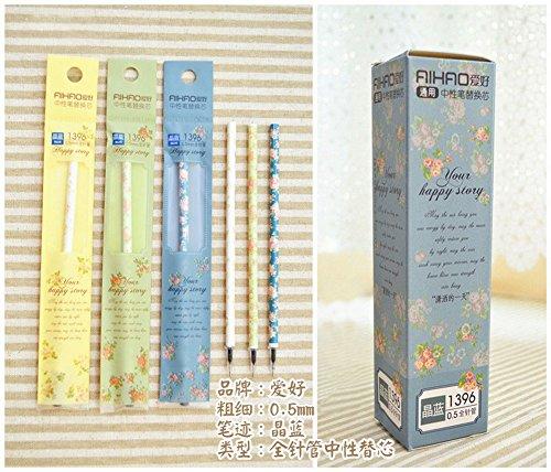 Lot de 20recharges pour stylo à bille bleu imprimé floral, 0,5mm
