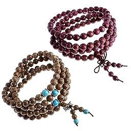 JOVIVI 2pc Tibetan Buddhist Mix-Style 8mm 108 Prayer Beads Wrist Meditation Mala Bracelet Necklace (Mix-style #2)