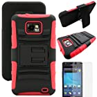 MINITURTLE, Rugged Hybrid Dual Layer Armor Phone Case Cover with Built in Kickstand, Swiveling Holster Belt Clip, and Clear Screen Protector Film for Android Smartphone Samsung Galaxy S2 II Attain SGH-I777 AT&T / Prepaid Straight Talk SGH-S959G (Black / Red)