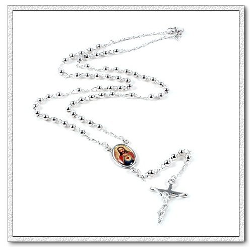 Klaritta Unisex Platinum Plated Cross With Jesus Pendant Rosary Silver Necklace N123