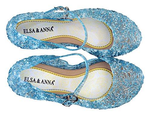ELSA & ANNA® Buona Qualità Ultimo Design Ragazze Principessa Regina delle Nevi Gelatina Partito Scarpe sandali FR112 (FR112-BLU, EU-30 (Fabbricante Dimensione 32))