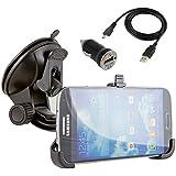 Samsung Galaxy S4 IV i9500 GT i9500 LTE i9505 i9502 Auto Handy KFZ Halterung mit Ladefunktion Halter inkl. Ladegerät Micro USB Kabel Ladekabel KFZ USB Adapter + Auto Ladegerät für Original Galaxy S4 i9500 i9505 von NessKa