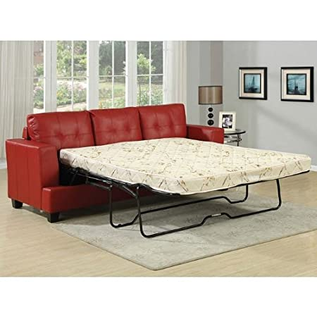 Bonded Leather Sofa w/ Queen Sleeper in Red by Acme Furniture