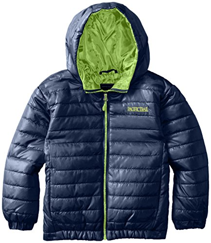 Pacific Trail Little Boys' Narrow Channel Lite Puffer Coat, Navy Pier/Electric Lime, 5/6