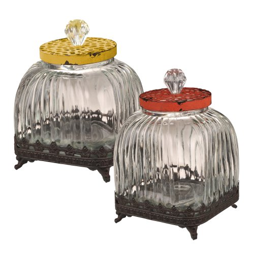 Grasslands Road Decorative Glass Container, 10-Inch, Set Of 2