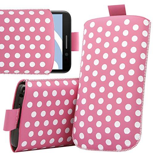 iTALKonline Nokia Lumia 610 Rosa Weiß Tupfen Qualität PU leder dünner Schlupftasche Schutzhülle Hülle mit Zuglasche
